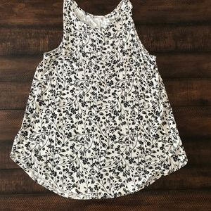 Black and White Floral Luxe Swing Tank
